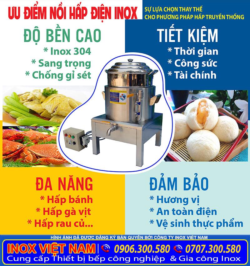 Nồi hấp bánh bao cách thủy bằng điện uy tín chất lượng giá tốt mua tại xưởng sản xuất của chúng tôi Inox Việt Nam.