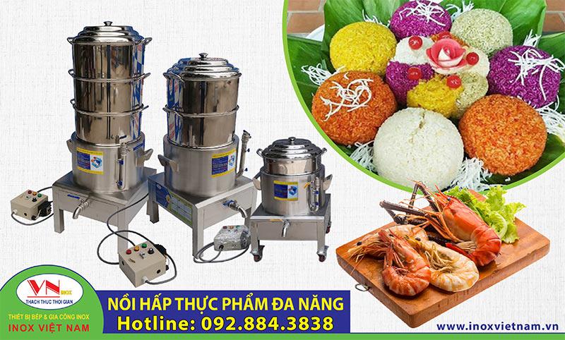 Nồi hấp công nghiệp cách thủy bằng điện dùng làm hấp bánh bao, hấp xôi, hấp hải sản,... mua tại Inox Việt Nam nhận ngay giá gốc.