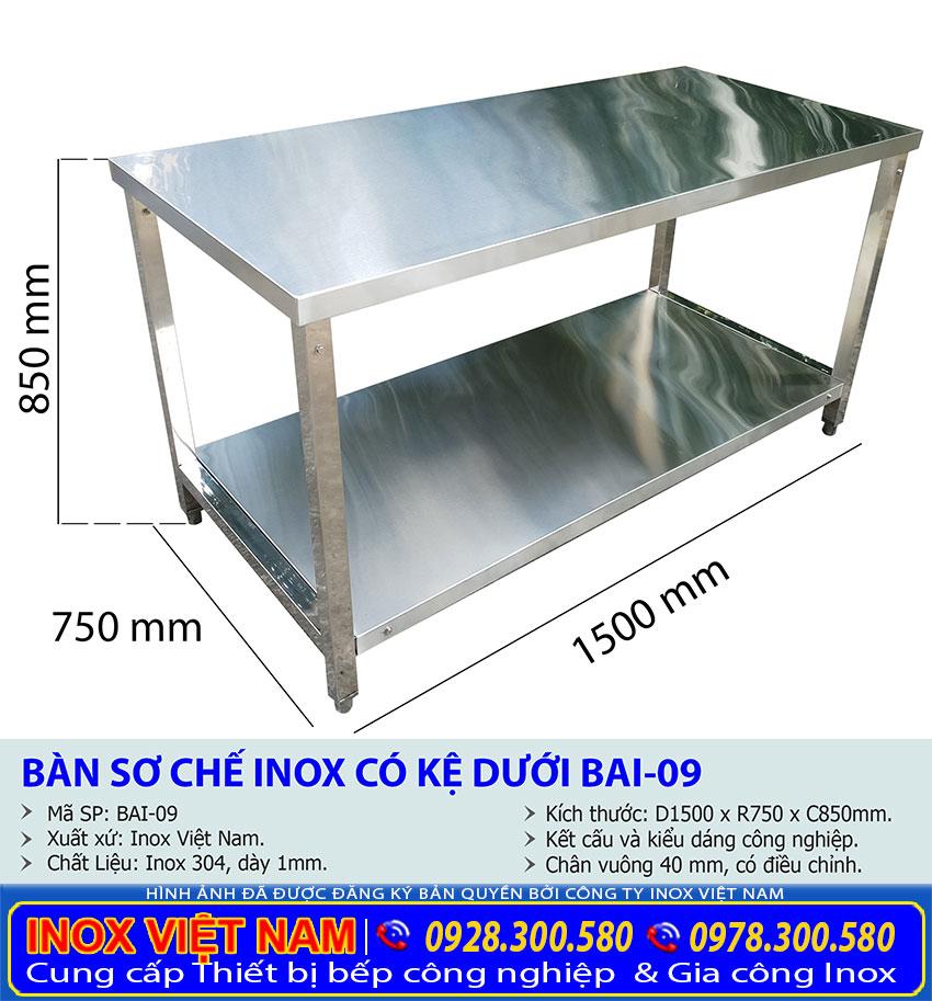 Chi tiết về thông số kỹ thuật của bàn bếp inox 2 tầng chất lượng.