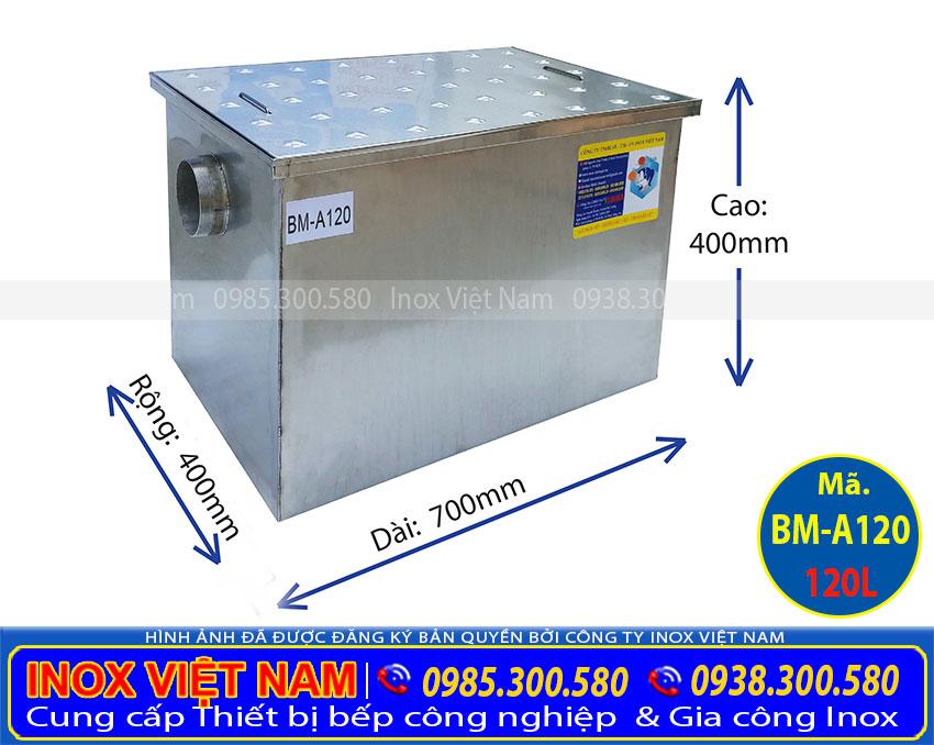 Liên hệ IVN mua bể tách mỡ inox bếp nhà hàng 120 Lít lắp đặt âm, Bể tách mỡ inox 120 Lít lắp âm sàn giá gốc tại xưởng.