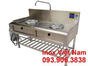 Bếp công nghiệp inox 2 họng kiềng tô có kệ song dưới, sản phẩm bếp á công nghiệp inox giá tốt tại Inox Việt Nam chúng tôi.