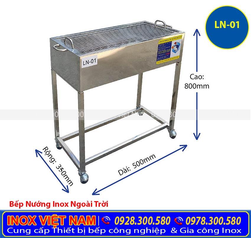 Bếp nướng than inox ngoài trời giá tốt, bếp nướng BBQ ngoài trời kích thước được thể hiện rõ trên hình. Liên Hệ Mua Ngay.