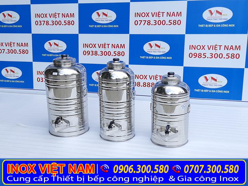 Bình đựng nước inox công nghiệp, sản phẩm bình đựng nước trà đá có vòi gạt công nghiệp áp dụng cho căn tin nhà hàng và quán ăn.