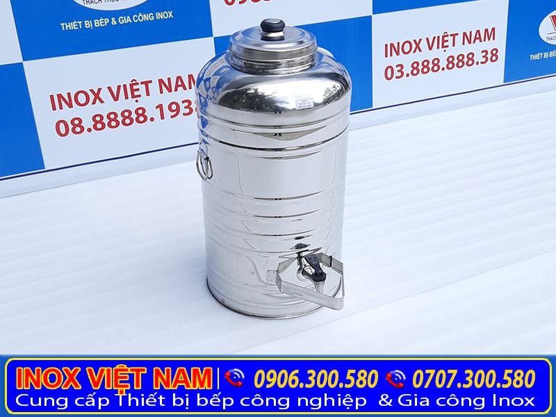 Bình nước đá inox, bình đựng nước đá inox có vòi gạt, sản phẩm dùng tại nhà hàng quán ăn, bình đựng trà đá bằng inox.