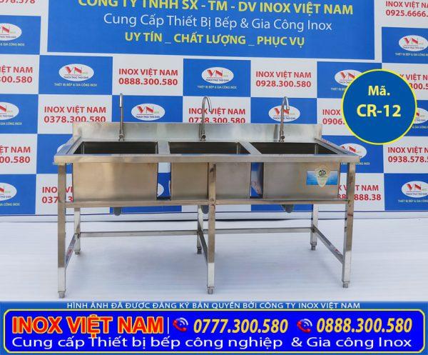 Chậu rửa inox công nghiệp, bồn rửa inox công nghiệp được thiết kế từ inox 304 dùng làm rửa chén, rửa tay,...