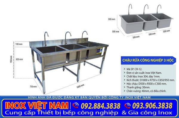 Bồn rửa công nghiệp 3 hố ngăn lớn, còn gọi là chậu rửa inox công nghiệp 3 ngăn giá tốt tại xưởng sản xuất IVN.