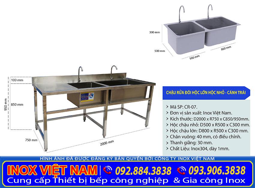 Chậu rửa công nghiệp đôi hộc lơn hộc nhỏ cánh trái hạng mục chậu rửa inox công nghiệp giá tại xưởng của chúng tôi IVN.