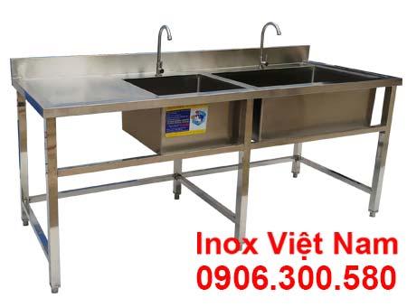 Chậu rửa đôi hộc lớn hộc nhỏ có cánh trái là sản phẩm thuộc hạng mục chậu rửa công nghiệp inox giá tại xưởng IVN.