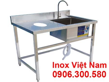 Chậu rửa công nghiệp có lỗ xã rác thuộc hạng mục chậu rửa công nghiệp, bồn rửa inox công nghiệp giá xưởng Inox Việt Nam.
