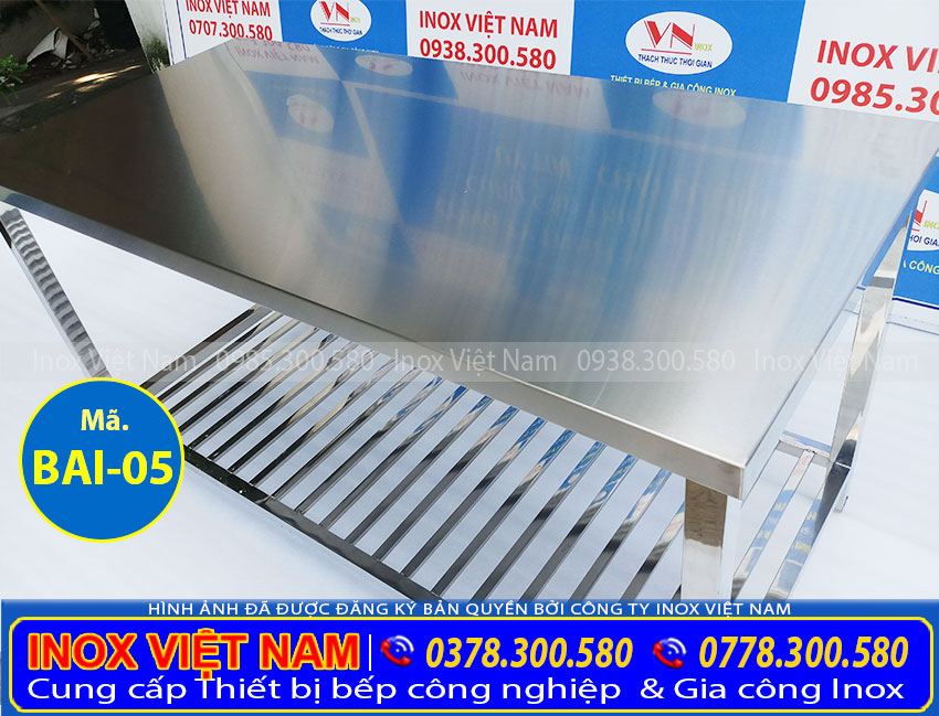 Địa chỉ bán bàn bếp inox sơ chế thực phẩm, bàn sơ chế thực phẩm bằng inox 304 giá tốt.