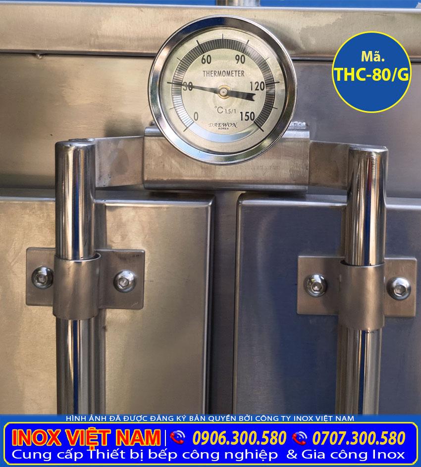 Chi tiết đồng hồ đo nhiệt tủ hấp cơm công nghiệp 80kg sử dụng điện và gas.