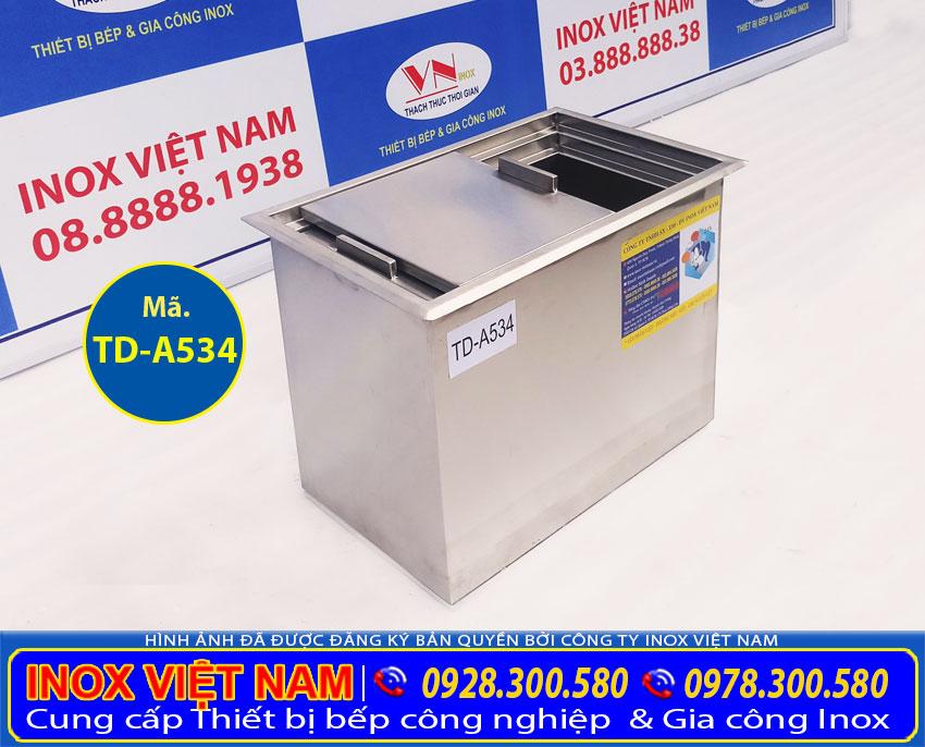 Báo giá thùng đá inox âm bàn mẫu TD-A534. Liên hệ IVN tư vấn chọn mua thùng đá inox kích thước theo yêu cầu.