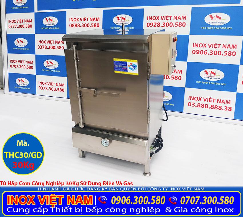 Báo giá tủ hấp cơm công nghiệp 30 kg bằng điện và gas, Tủ cơm công nghiệp 30 kg, địa chỉ sản xuất tủ cơm bằng điện và gas uy tín chất lượng tại TP HCM. Inox Việt Nam.