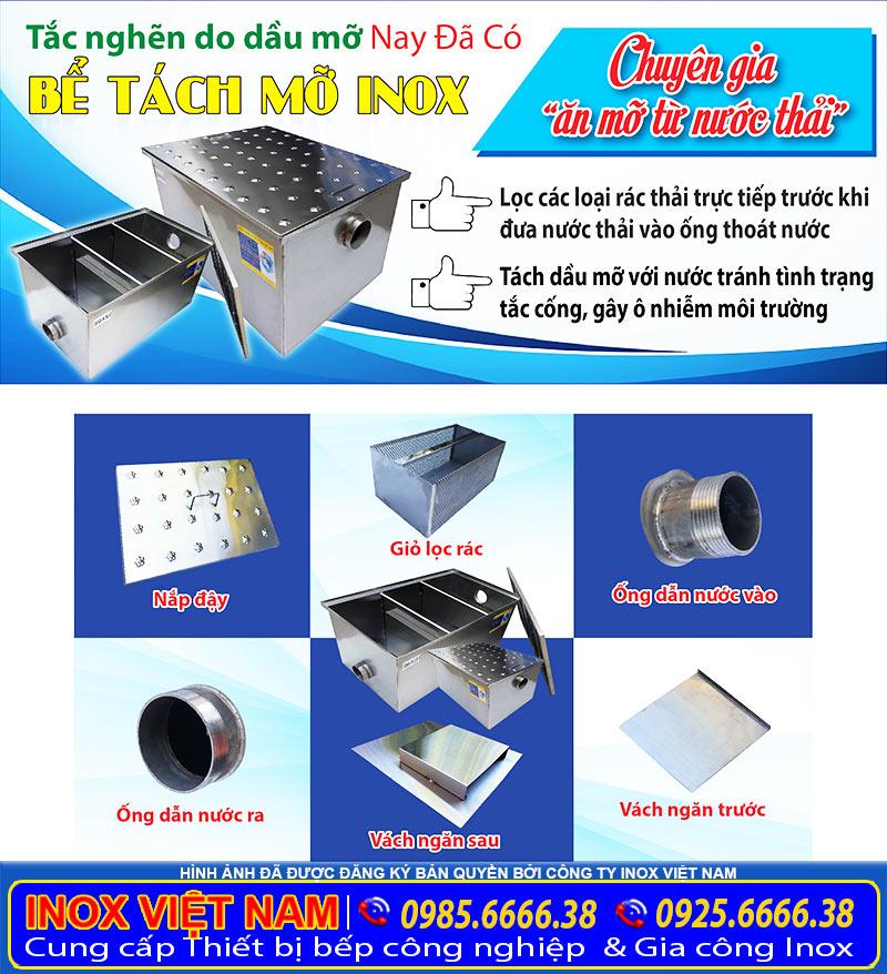 Hố bể tách mỡ inox 304 giá tốt tại TP HCM do xưởng Inox Việt Nam sản xuất.