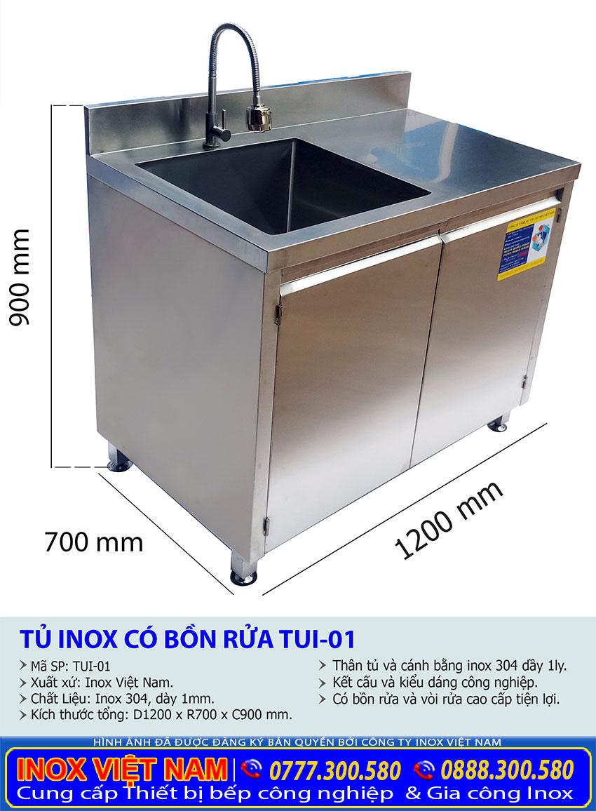 Kích thước tủ inox có bồn rửa chén bát bằng inox giá tốt tại Inox Việt Nam.