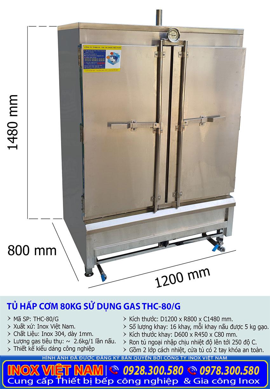 Thông số kỹ thuật tủ hấp cơm công nghiệp 80kg dùng gas chất lượng.