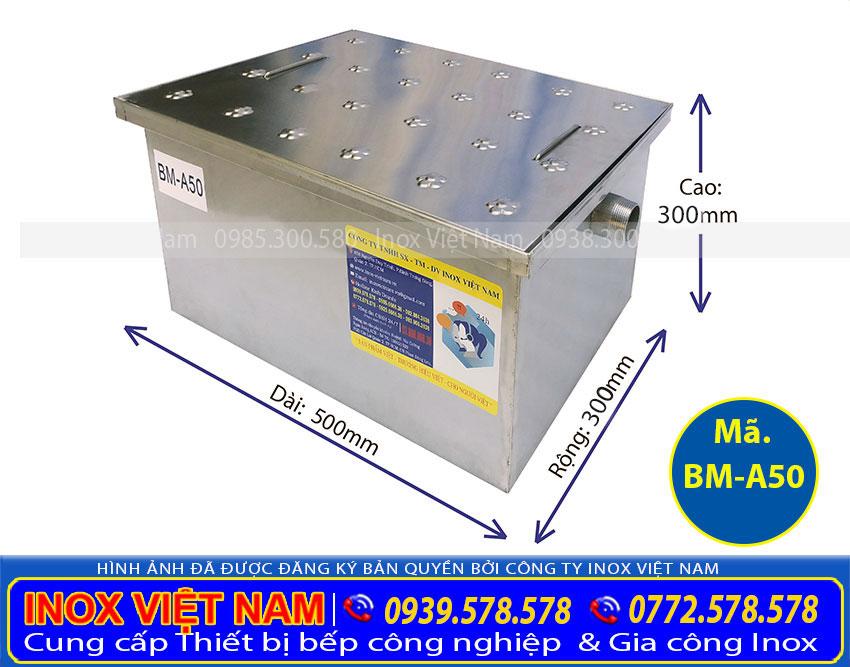 Mẫu: Thùng lọc dầu mỡ 50 lít lắp đặt âm sàn, thùng tách mỡ inox 50L âm sàn, hộp lọc dầu mỡ 50 L âm sàn giá tốt tại IVN.