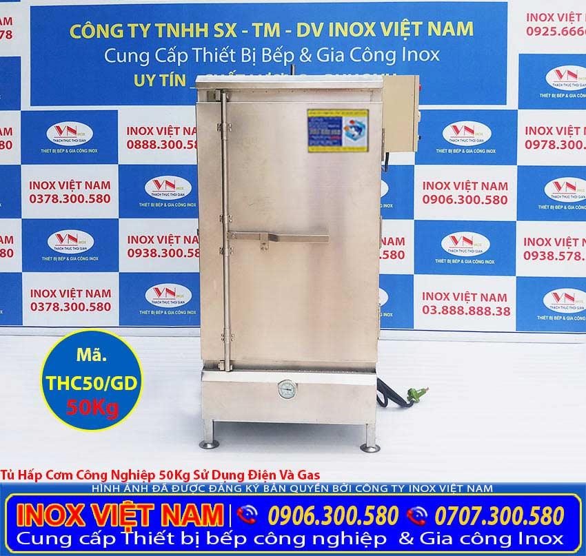 Tủ hấp cơm công nghiệp 50 kg điện và gas chúng tôi Inox Việt Nam mang đến tay khách hàng được sử dụng nhiều hiện nay.