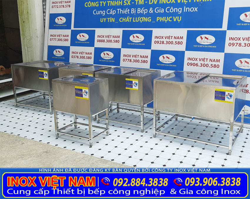 Bộ 5 thùng đá inox có khung chân, thùng đựng đá inox giá xưởng Inox Việt Nam.