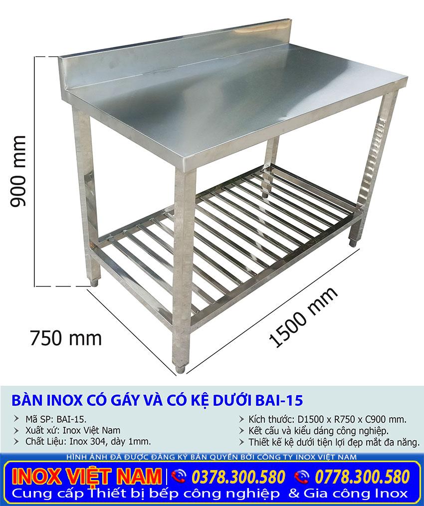 Thông số kỹ thuật có kệ dưới được sản xuất tại Inox Việt Nam.