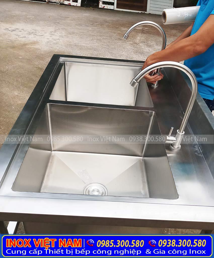 bồn rửa chén inox 2 ngăn lớn