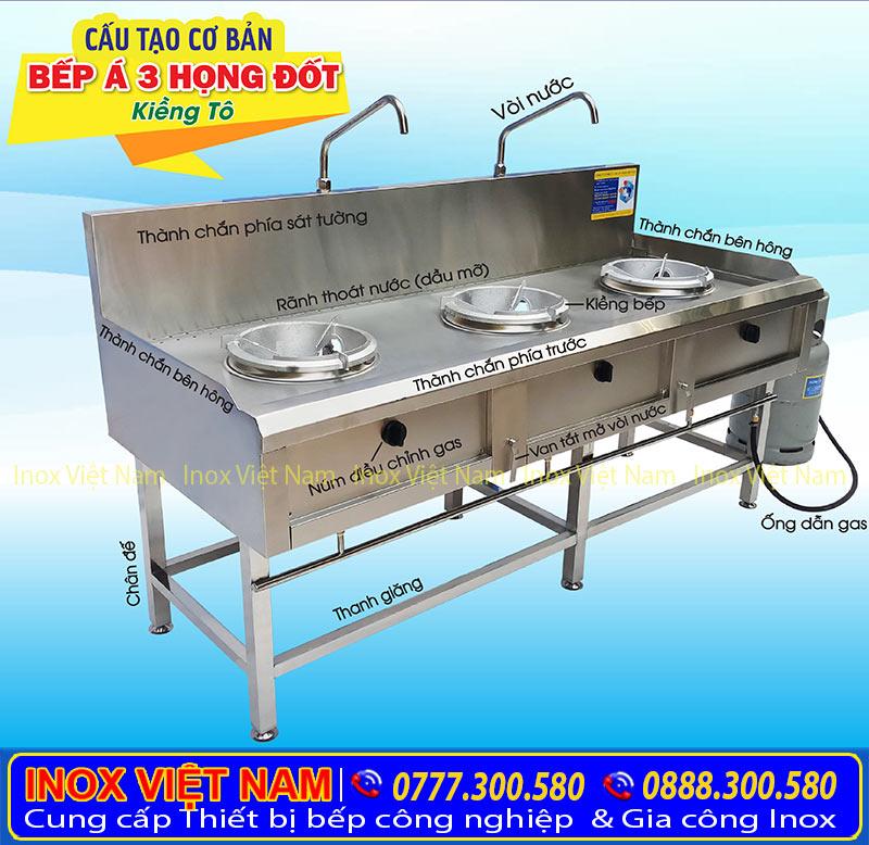 cấu tạo bếp á inox kiềng tô 3 họng tại IVN sản phẩm bếp inox công nghiệp 3 họng đốt loại kiềng tô chất lượng cao.