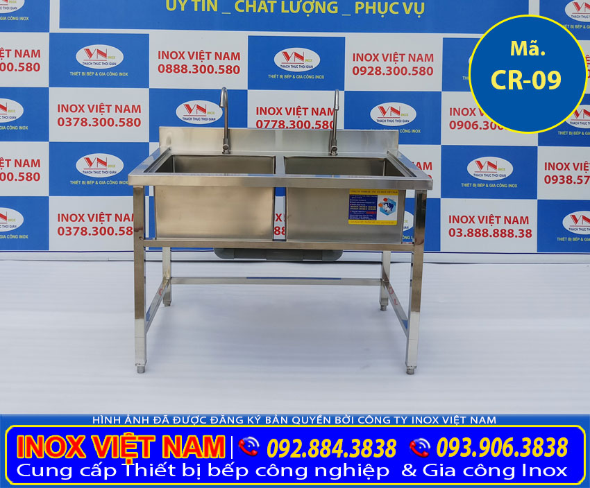 Chậu rửa 2 hộc inox 304 chất lượng cao là sản phẩm thuộc hạng mục chậu rửa công nghiệp inox, bồn rửa inox công nghiệp tại xưởng sản xuất của chúng tôi IVN.