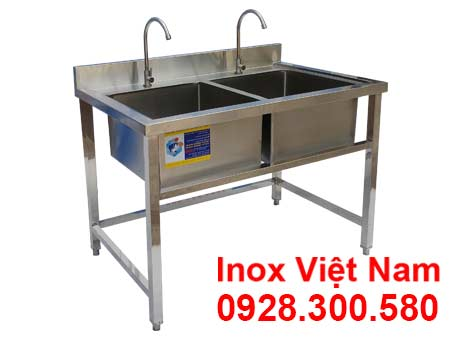 Chậu rửa đôi inox công nghiệp giá tốt, sản phẩm chậu rửa inox công nghiệp, bồn rửa inox công nghiệp tại xưởng IVN.