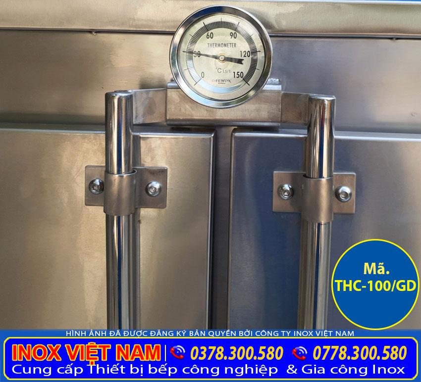 Chi tiết đồng hồ của tủ cơm công nghiệp 100kg dùng gas và điện.
