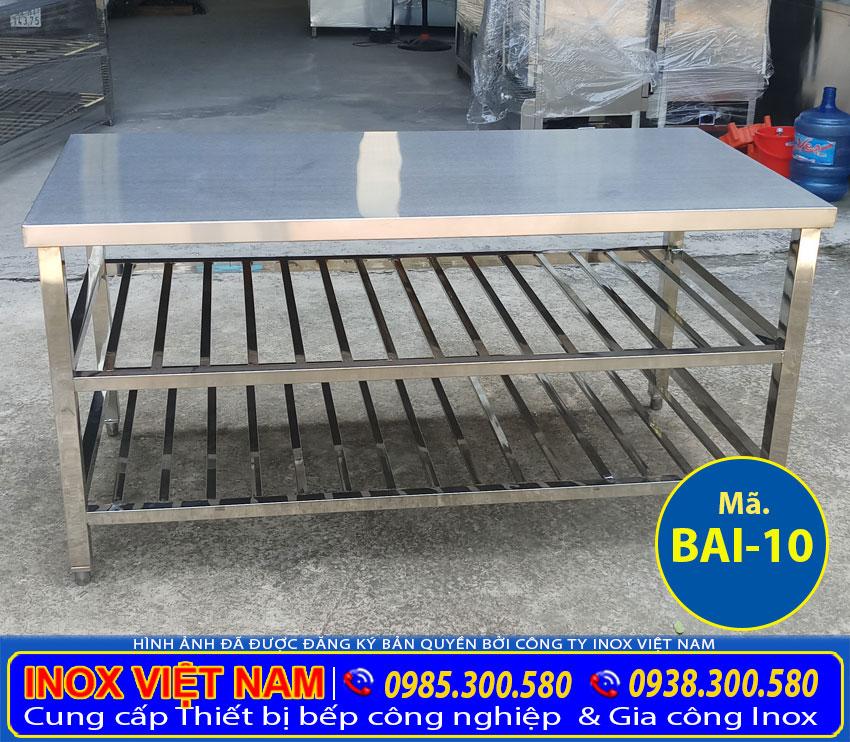Báo giá bàn inox 3 tầng tại xưởng sản xuất Inox Việt Nam của chúng tôi sản xuất.