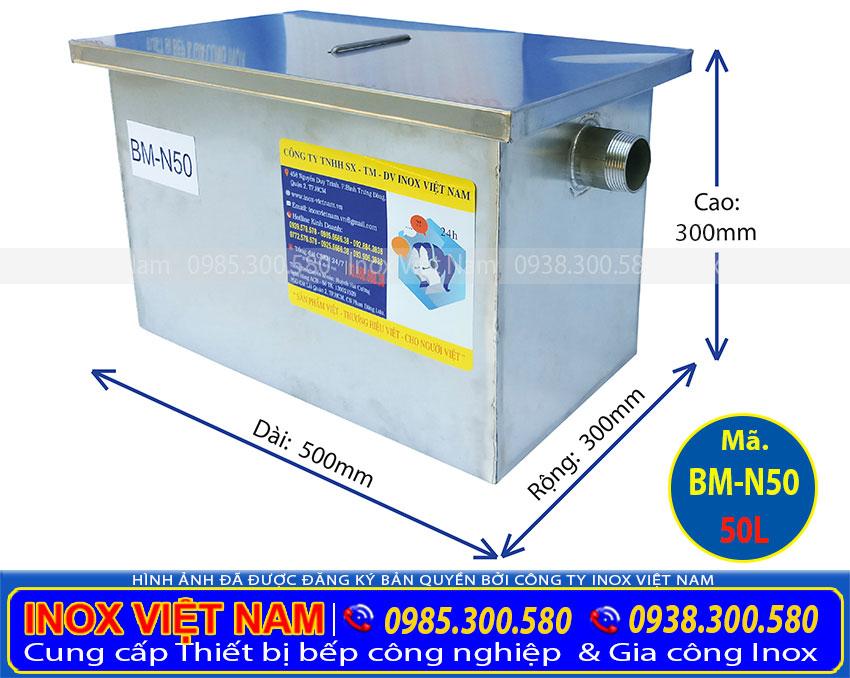 Liên hệ IVN Báo giá bể tách mỡ inox 50 lít, bể tách mỡ 50 lít lắp đặt nổi hoặc dung tích khác.