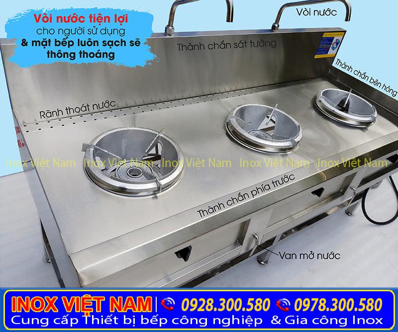 Giá bếp á inox kiềng tô 3 họng tại IVN, địa chỉ bán bếp á công nghiệp inox 3 họng kiềng tô uy tín tại TPHCM.