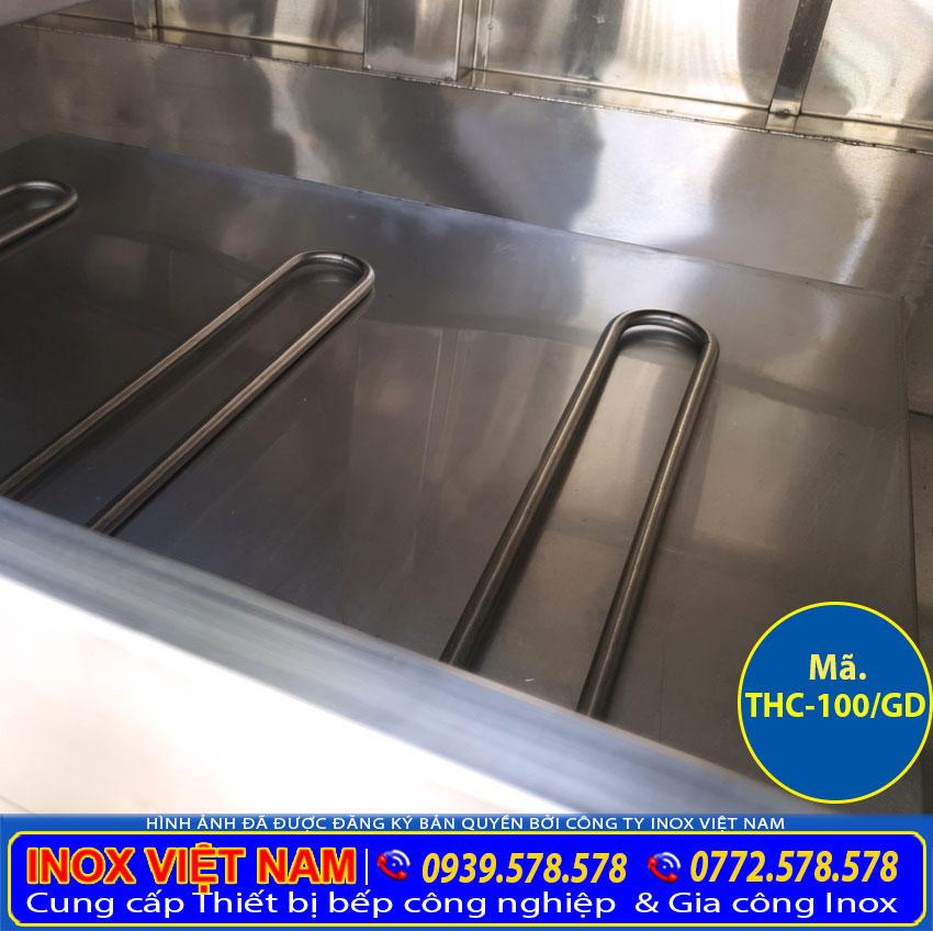 Chi tiết khoan chứa nước và thanh điện trỡ của tủ hấp cơm công nghiệp bằng gas và điện.