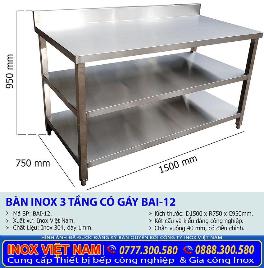Kích thước bàn inox 3 tầng phẳng có gáy giá tốt.