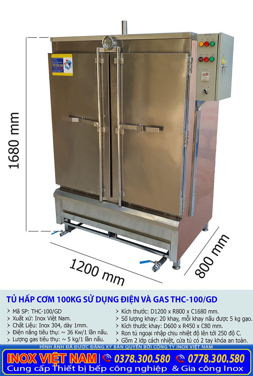 Thông số kỹ thuật tủ cơm công nghiệp 100kg sử dụng gas và điện chất lượng tại Inox Việt Nam.