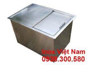 Thùng chứa đá inox âm bàn, thùng đá inox âm quầy.
