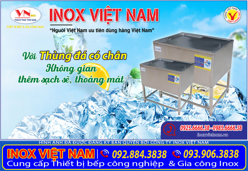 Thùng đá inox có chân giá tốt tại TP HCM.