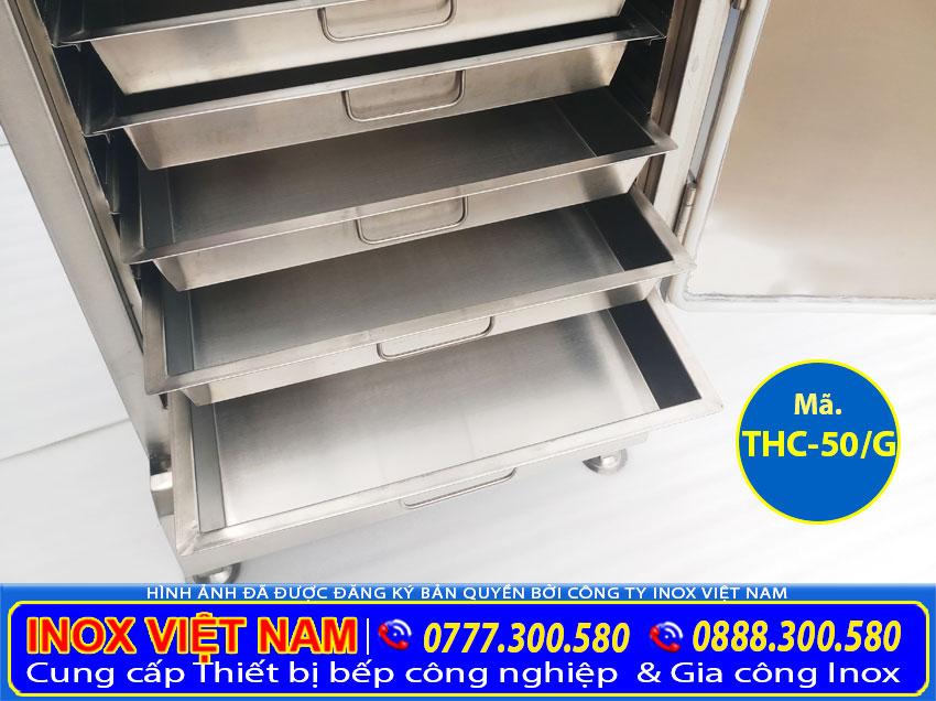 Tủ hấp cơm công nghiệp 10 khay hấp 50 kg gạo bằng gas giá tốt tại Inox Việt Nam.