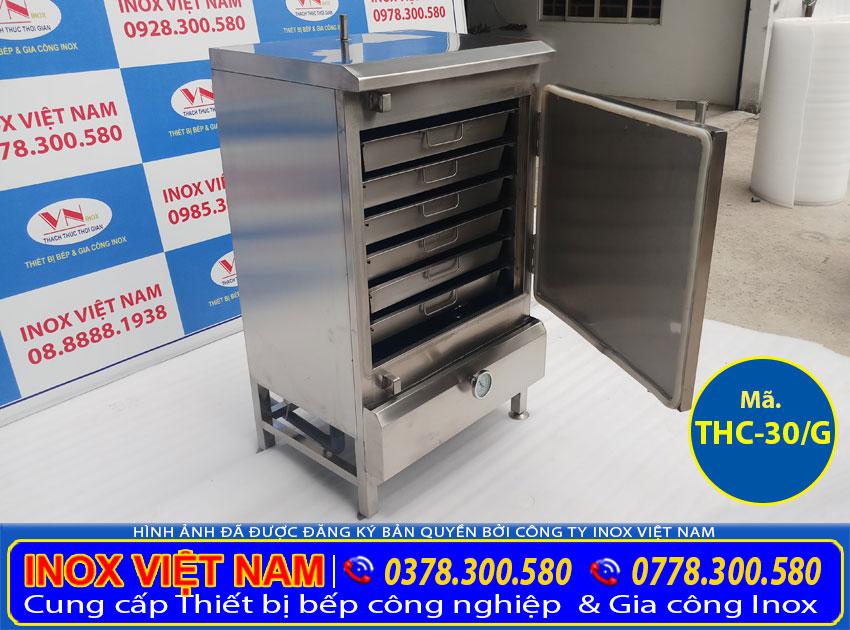 Địa chỉ mua tủ hấp cơm công nghiệp 30kg bằng gas. liên hệ Inox Việt Nam ngay.