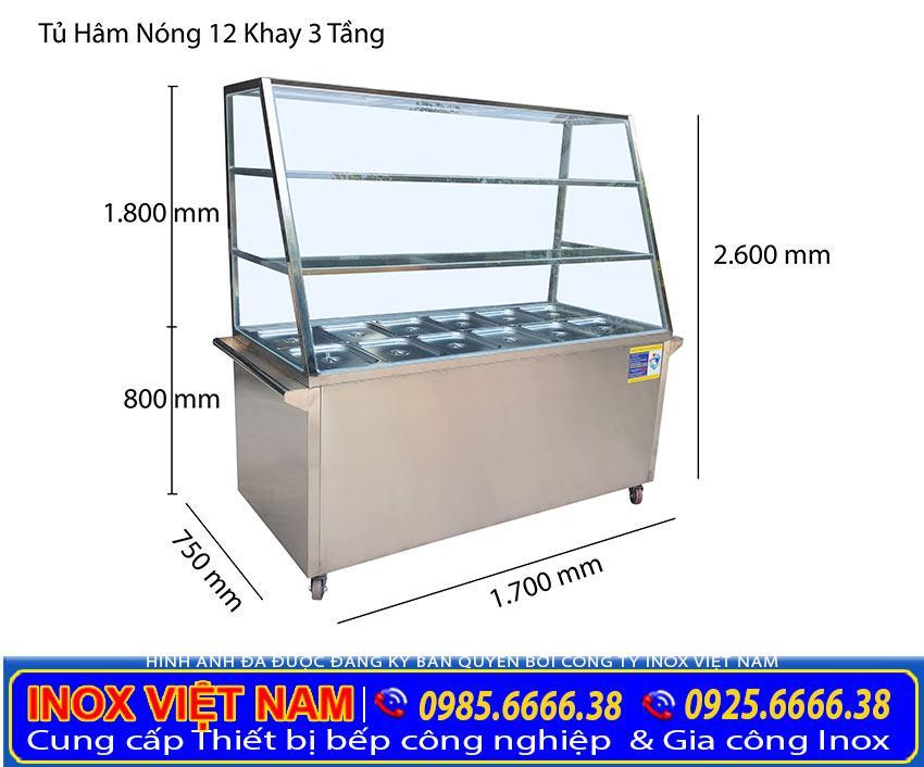Tủ trưng bày cơm 12 khay hâm nóng thức ăn và 3 tầng để đồ giá tốt tại xưởng Inox Việt Nam của chúng tôi.
