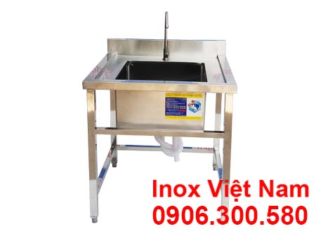 Chậu rửa inox công nghiệp loại 1 hố sáng bóng bền và đầy tiện ích.