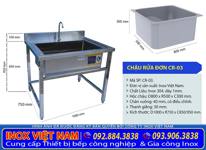 Kích thước chậu rửa đơn công nghiệp loại lớn, chậu rửa công nghiệp inox 1 hố lớn sản phẩm uy tín chất lượng đầy tiện ích tại xưởng IVN.