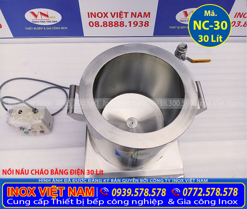 Nồi nấu cháo 30L công nghiệp, sản phẩm nồi nấu cháo loại 30 lít chất lượng tại Inox Việt Nam.