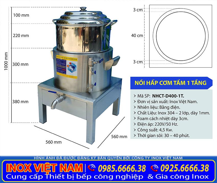 Kích thước nồi điện hấp cơm tấm 1 tầng, sản phẩm nồi hấp điện công nghiệp đa năng uy tín chất lượng giá tốt tại xưởng Inox Việt Nam của chúng tôi.