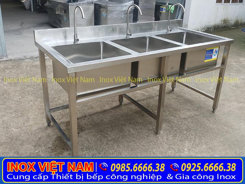 Bồn rửa inox công nghiệp 3 hộc