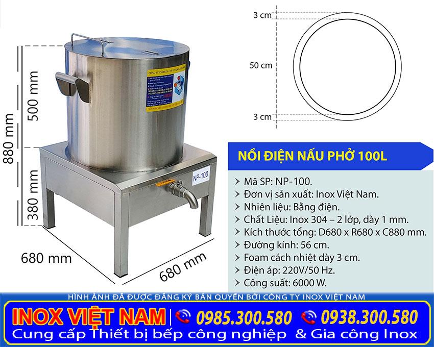 Kích thước nồi nấu phở bằng điện 100 lít tại xưởng sản xuất IVN.