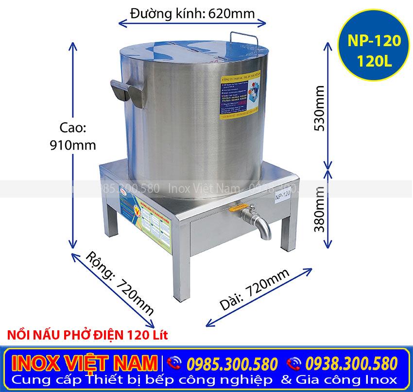 Nồi điện nấu phở 120 lít, nồi nấu phở giá tốt hợp điện rời hoặc liền hợp điện giá tốt tại Inox Việt Nam.