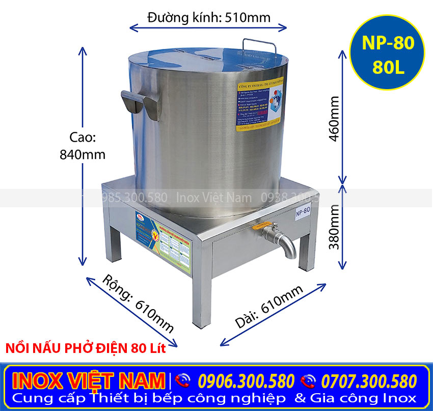 Mua nồi nấu phở điện 80 Lít giá tốt, nồi nấu phở bằng điện chất lượng tại Inox Việt Nam.