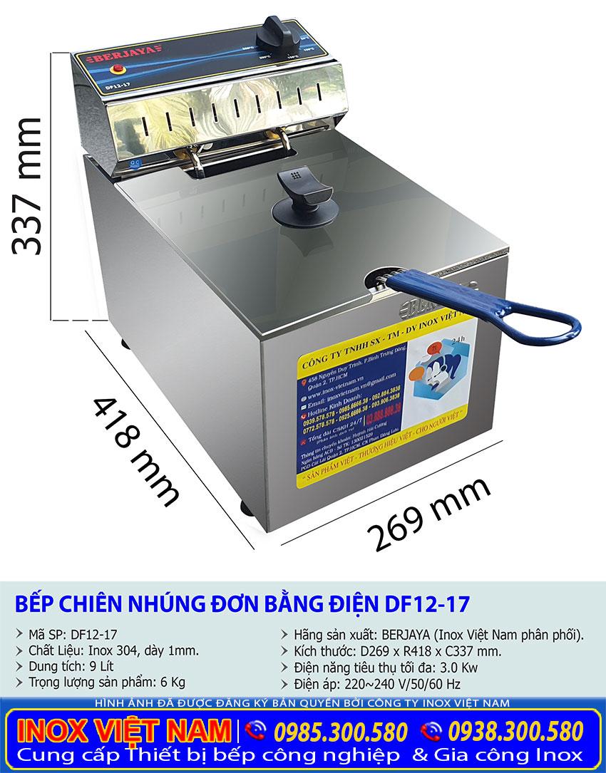 Thông số kỹ thuật bếp chiên nhúng đơn dùng điện hiệu Berjaya DF12-17.