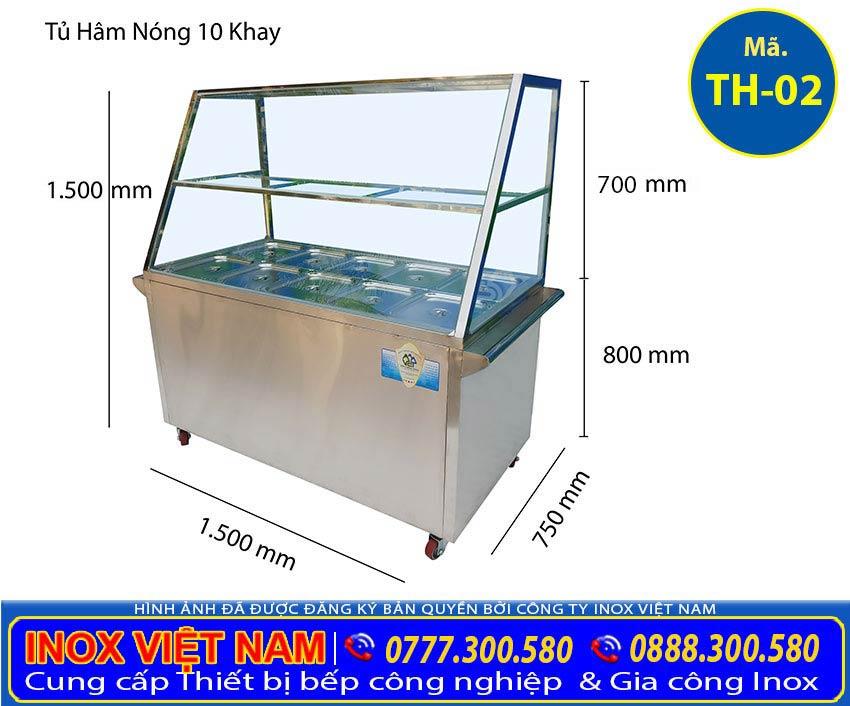 Mua tủ hâm nóng thức ăn 10 khay inox, tủ giữ nóng thức ăn có 10 khay giá tốt tại IVN.